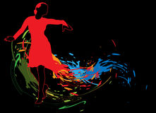 Abstract background with dancing girl. In a red dress and colored spots royalty free illustration