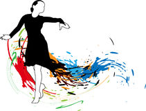 Abstract background with dancing girl in a black d. Ress and colored spots vector illustration