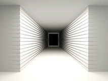Abstract background with a dark corridor. Abstract background with a dark corridor at the end of the hole. The concept of perspective, of the unknown. 3D vector illustration