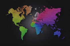 Abstract background dark grey sphere with rainbow world map Royalty Free Stock Photo