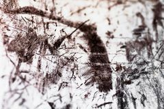 Abstract background with dark line, groove, scratch and blot on white background Stock Image