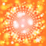Abstract background. Abstract decorative radial background with bokeh and stars Stock Image