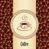 Abstract background with design element - cup of coffee. Vector template packaging coffee, label, banner, branding. Abstract background with design element Stock Image