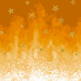 Abstract background for design. Gold flame. Sparkly flame. Illustration with glitter stars Stock Images