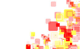 Abstract background design. Illustration of abstract background of yellow and red square shapes on white with copy space Stock Photography