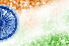 Abstract background design of India flag and bokeh. For independence day and other celebration royalty free illustration
