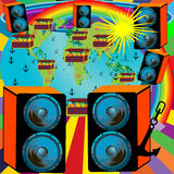 Abstract background design for party. With planet rainbow and speakers Royalty Free Illustration