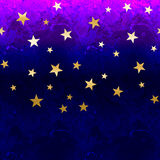 Abstract background for design. Purple watercolor. Golden stars. Bright illustration stock illustration