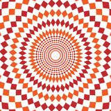 Abstract background design texture with red and orange rounded twirl chequered elements. Creative vector fabric pattern. With shapes of small rhombus. Simple Stock Photography