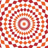 Abstract background design texture with red and orange rounded twirl chequered elements. Creative vector fabric pattern Royalty Free Stock Photography