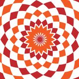 Abstract background design texture with red and orange rounded twirl chequered elements. Creative vector fabric pattern. With shapes of small rhombus. Simple Stock Image