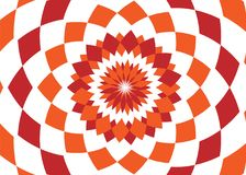 Abstract background design texture with red and orange rounded twirl chequered elements. Creative vector fabric pattern Stock Photos
