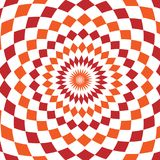 Abstract background design texture with red and orange rounded twirl chequered elements. Creative vector fabric pattern Stock Photography