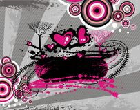 Abstract background designs. Bright pink, black, and white abstract designs on gray background Stock Photos
