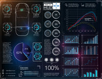 Abstract background with different elements of the hud. Hud elements,graph.Vector illustration. Head-up display elements for Infographic elements Royalty Free Stock Images