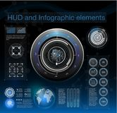 Abstract background with different elements of the hud. Hud elements,graph.Vector illustration. Head-up display elements for Infographic elements Stock Images