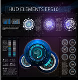 Abstract background with different elements of the hud. Hud elements. Vector illustration. Head-up display elements for Info-graph. Hud background outer space Royalty Free Stock Images
