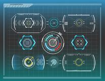 Abstract background with different elements of the hud. Hud elements. Vector illustration. Head-up display. Elements for Info-graphic elements Stock Photography