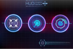 Abstract background with different elements of the hud. Hud elements. Vector illustration. Head-up display elements. For Info-graphic elements Stock Images