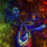 Dark and very colorful abstract fractal wallpaper with different and many shapes Royalty Free Stock Image
