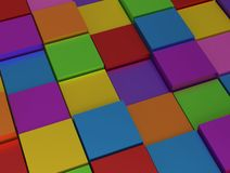 Abstract background - different rainbowcolor cubes Stock Photography