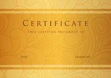 Certificate / Diploma award template. Pattern Royalty Free Stock Photography