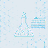 Abstract background with DNA molecule structure. Genetic and chemical compounds. laboratory glass with chemical reaction. flask and bubbles stock illustration