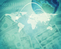Abstract background with dollars and earth model Stock Image
