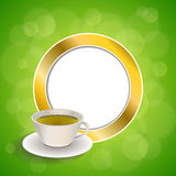 Abstract background drink green tea cup gold circle frame illustration Stock Image