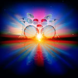 Abstract background with drum kit. Abstract music background with drum kit and night sky vector illustration