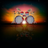 Abstract background with drum kit. Abstract music background with drum kit and red sky Vector Illustration