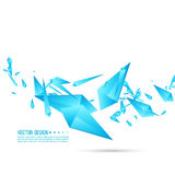 Abstract background with dynamic fragments. Abstract background with dynamic flying fragments. Glass geometric polygon shapes blue color in motion. Modern stock illustration