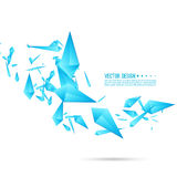 Abstract background with dynamic fragments. Abstract background with dynamic flying fragments. Glass geometric polygon shapes blue color in motion. Modern royalty free illustration