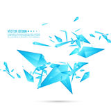 Abstract background with dynamic fragments. Abstract background with dynamic flying fragments. Glass geometric polygon shapes blue color in motion. Modern vector illustration
