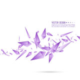 Abstract background with dynamic fragments. Abstract background with dynamic flying fragments. Glass geometric polygon shapes purple color in motion. Modern royalty free illustration