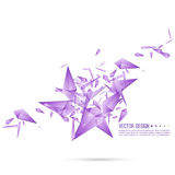 Abstract background with dynamic fragments. Abstract background with dynamic flying fragments. Glass geometric polygon shapes purple color in motion. Modern stock illustration
