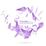 Abstract background with dynamic fragments. Abstract background with dynamic flying fragments. Glass geometric polygon shapes purple color in motion. Modern vector illustration