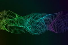 Abstract background with dynamic linear waves. Stylized lines element for design. Colorful abstract waves vector backgroud. Digital frequency track equalizer Royalty Free Stock Photos