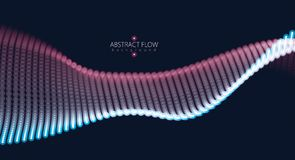 Abstract background with dynamic particles sound wave. Vector ab. Stract dark background. Mesh of glowing dots, beautiful illustration Royalty Free Illustration