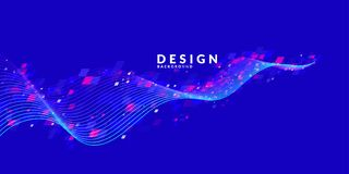 Abstract background with dynamic particles. Vector template. For design royalty free illustration