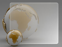 Abstract background - earth globe and blank sheet. Earth globe and blank sheet on gray background Stock Photos