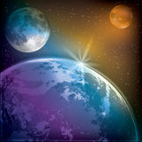 Abstract background with earth moon and mars Stock Images