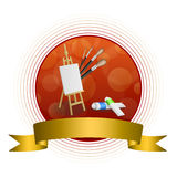 Abstract background easel picture paint brush red yellow circle frame gold ribbon illustration Royalty Free Stock Photo