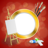 Abstract background easel picture paint brush red yellow gold circle frame illustration Royalty Free Stock Images