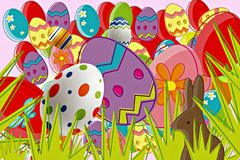 Abstract Background Easter Eggs & Bunny Stock Images