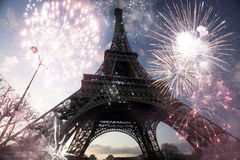 Abstract background of Eiffel tower with fireworks Stock Images