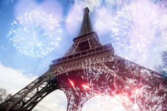 Abstract background of Eiffel tower with fireworks Royalty Free Stock Images