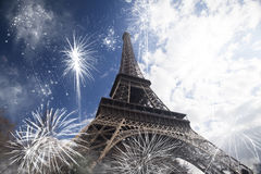 Abstract background of Eiffel tower with fireworks Stock Photography
