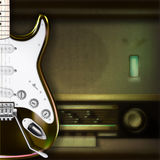 Abstract background with electric guitar and retro radio. Abstract grunge background with electric guitar and retro radio stock illustration