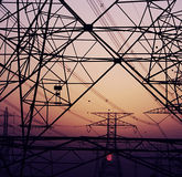 Abstract background of electricity pylons Royalty Free Stock Images